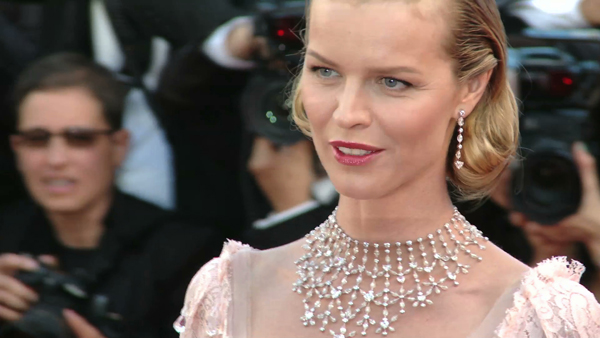 Eva Herzegova wearing a Chopard necklace.